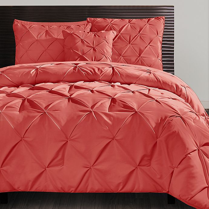 Alternate image 1 for VCNY Home Carmen 3-Piece Queen Duvet Cover Set in Coral