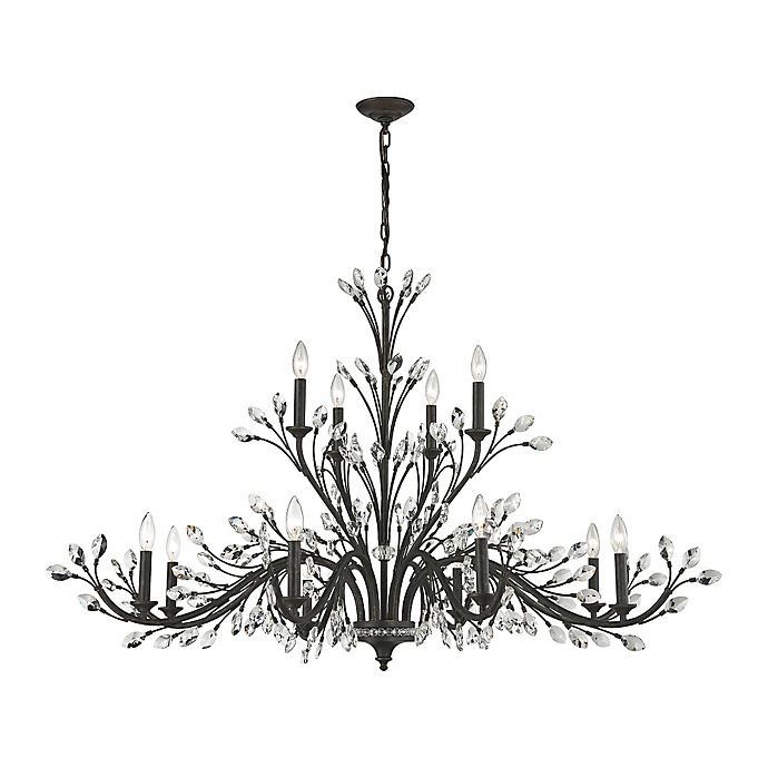 Alternate image 1 for Elk Lighting Crystal Branches 12-Light Chandelier in Bronze