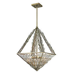 Elk Lighting Viva Natura Pyramid Triangle 6-Light Ceiling Mount Pendant in Aged Silver