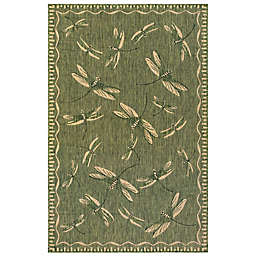 Liora Manné Carmel Dragonfly 4'10 x 7'6 Indoor/Outdoor Area Rug in Green
