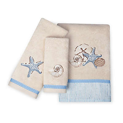 Zenna Home® Seaside Serenity Fingertip Towel in Blue and Natural