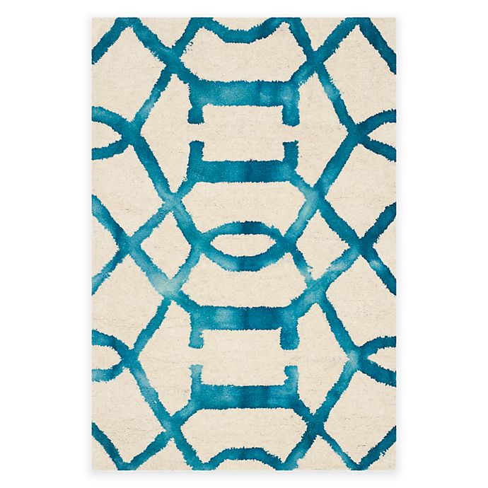 Alternate image 1 for Safavieh Dip Dye Entwine 2-Foot x 3-Foot Hand-Tufted Wool Area Rug in Ivory/Turquoise