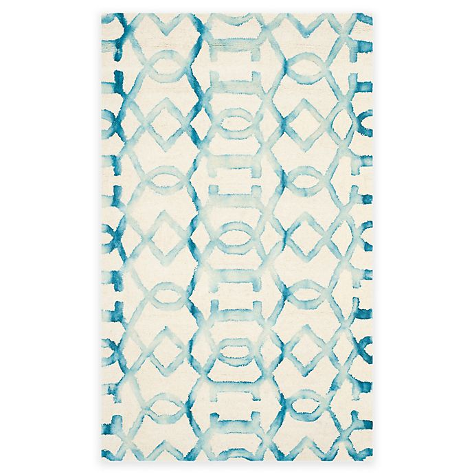 Alternate image 1 for Safavieh Dip Dye Entwine 3-Foot x 5-Foot Hand-Tufted Wool Area Rug in Ivory/Turquoise