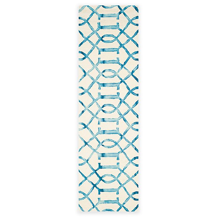 Alternate image 1 for Safavieh Dip Dye Entwine 2-Foot 3-Inch x 12-Foot Hand-Tufted Wool Area Rug in Ivory/Turquoise