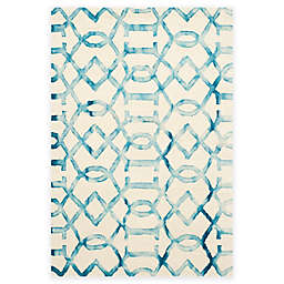 Safavieh Dip Dye Entwine 5-Foot x 8-Foot Hand-Tufted Wool Area Rug in Ivory/Turquoise