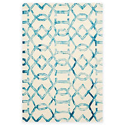 Safavieh Dip Dye Entwine 6-Foot x 9-Foot Hand-Tufted Wool Area Rug in Ivory/Turquoise