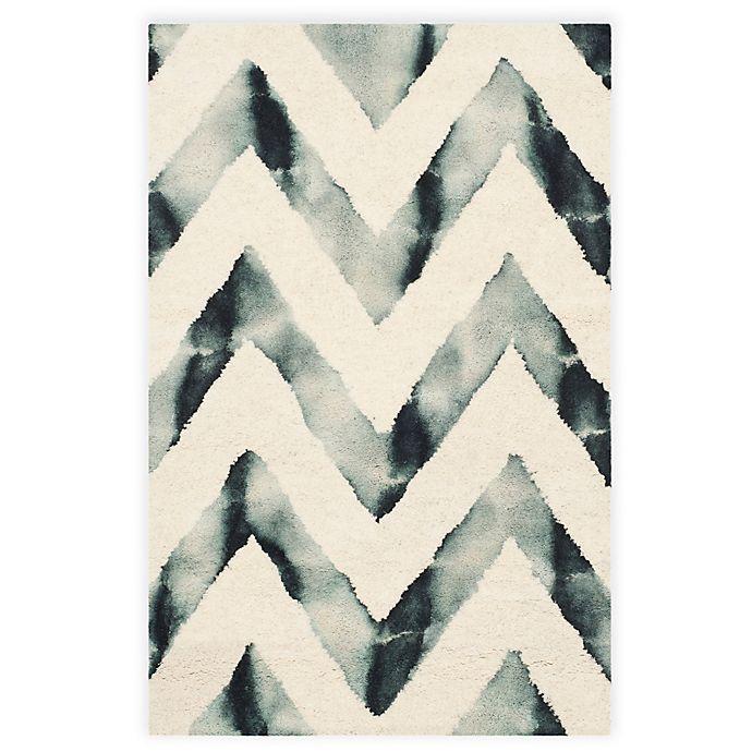 Alternate image 1 for Safavieh Dip Dye Chevron 2-Foot x 3-Foot Hand-Tufted Wool Area Rug in Ivory/Grey