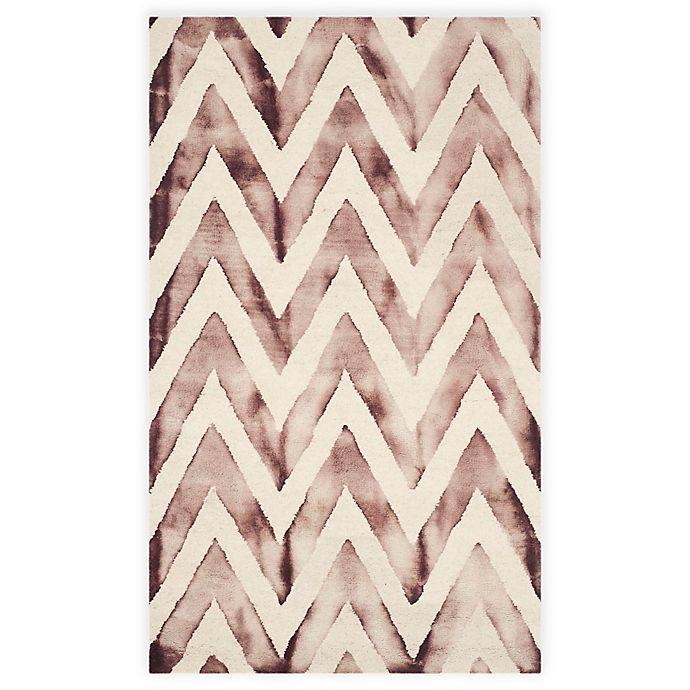 Alternate image 1 for Safavieh Dip Dye Chevron 3-Foot x 5-Foot Hand-Tufted Wool Area Rug in Ivory/Maroon