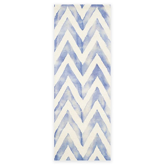 Alternate image 1 for Safavieh Dip Dye Chevron 2-Foot 3-Inch x 12-Foot Hand-Tufted Wool Area Rug in Ivory/Blue