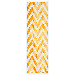 Safavieh Dip Dye Chevron 2-Foot 3-Inch x 12-Foot Hand-Tufted Wool Area Rug in Ivory/Gold