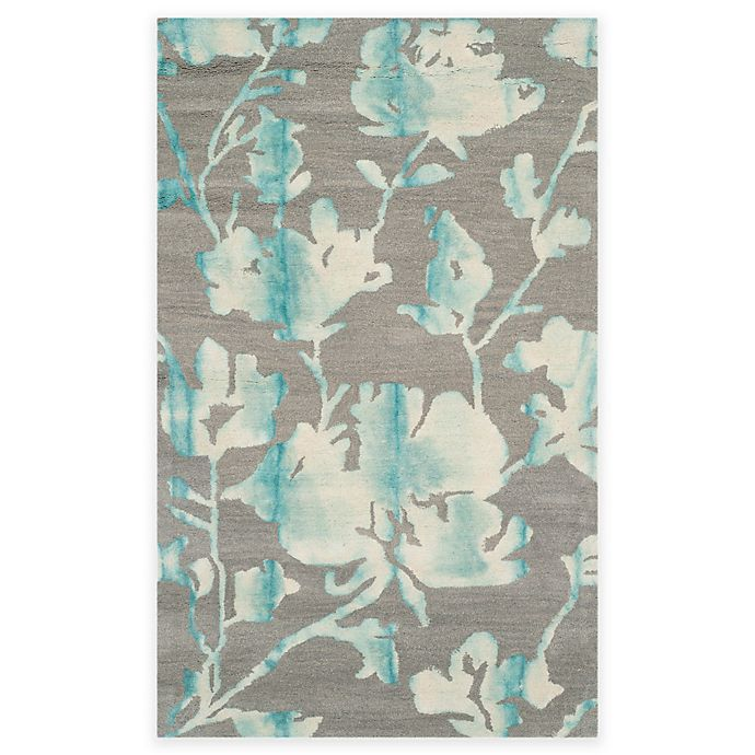 Alternate image 1 for Safavieh Dip Dye Roses 3-Foot x 5-Foot Hand-Tufted Wool Area Rug in Grey/Turquoise