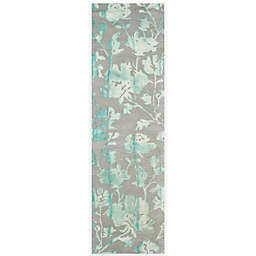 Safavieh Dip Dye Roses 2-Foot 3-Inch x 8-Foot Hand-Tufted Wool Area Rug in Grey/Turquoise