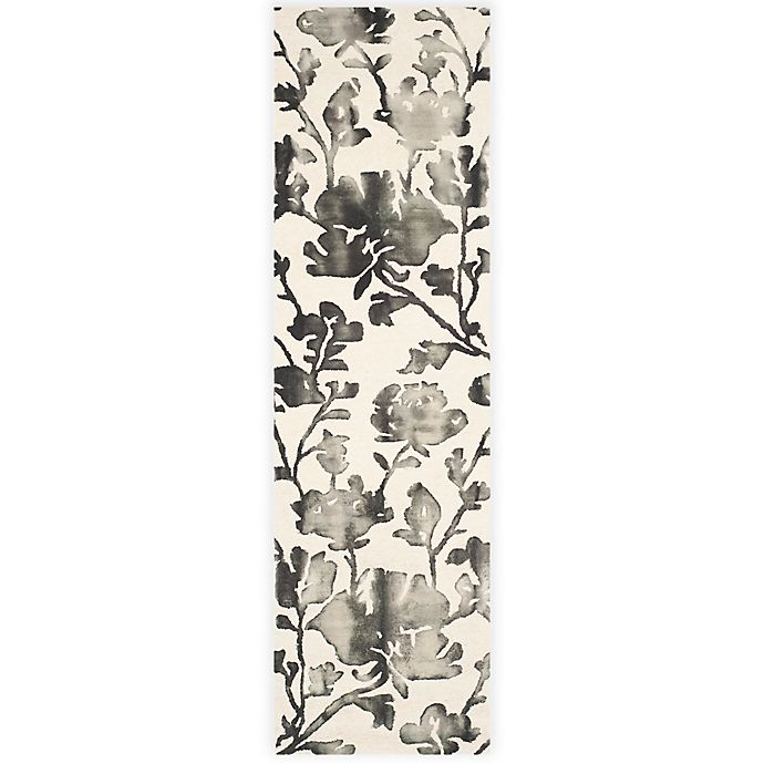 Alternate image 1 for Safavieh Dip Dye Roses 2-Foot 3-Inch x 12-Foot Hand-Tufted Wool Area Rug in Ivory/Charcoal