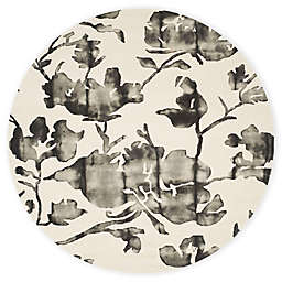 Safavieh Dip Dye Roses 7-Foot Round Hand-Tufted Wool Area Rug in Ivory/Charcoal