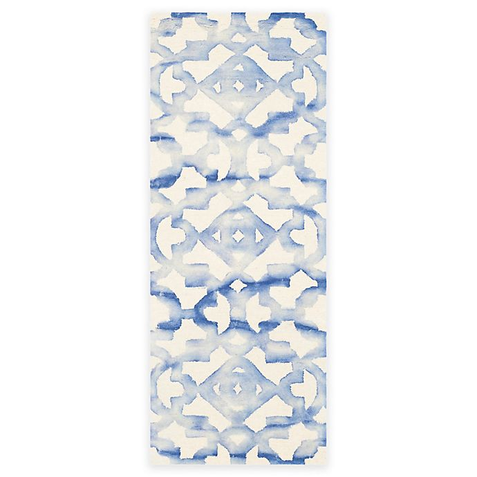 Alternate image 1 for Safavieh Dip Dye Roses 2-Foot 3-Inch x 12-Foot Hand-Tufted Wool Area Rug in Ivory/Blue