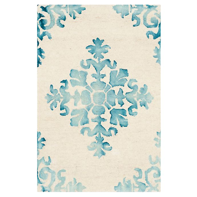 Alternate image 1 for Safavieh Dip Dye New Damask 2-Foot x 3-Foot Hand-Tufted Wool Area Rug in Ivory/Light Blue