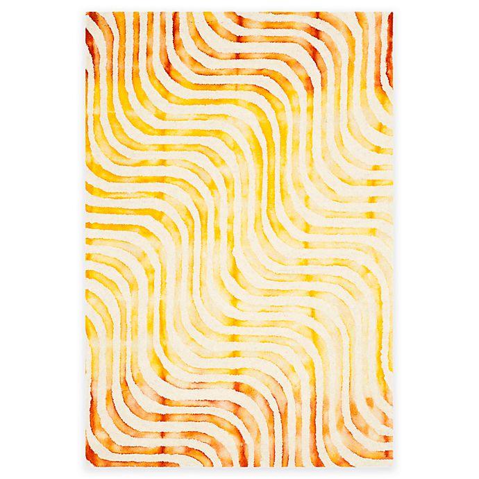 Alternate image 1 for Safavieh Dip Dye Waves 3-Foot x 5-Foot Hand-Tufted Wool Area Rug in Ivory/Terracotta