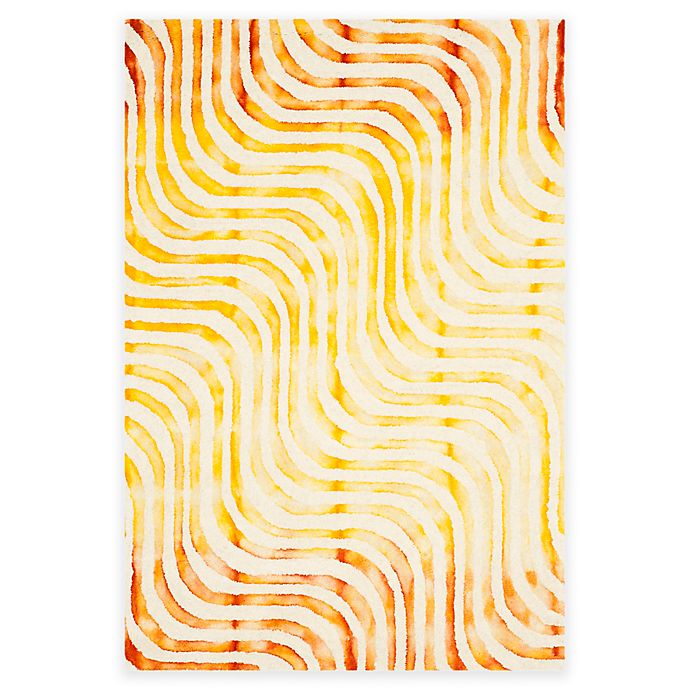 Alternate image 1 for Safavieh Dip Dye Waves 4-Foot x 6-Foot Hand-Tufted Wool Area Rug in Ivory/Terracotta