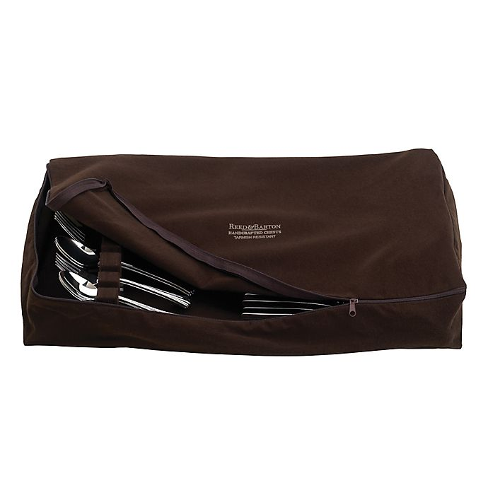 Alternate image 1 for Reed & Barton Zippered Flatware Drawer Liner in Brown