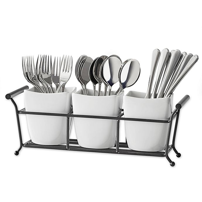 Alternate image 1 for B. Smith® 4-Piece Flatware Caddy in White