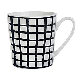 Formations Grid Pattern Black and White Flare Mug