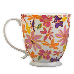 Formations Small Florals Footed Scroll Handle Mug