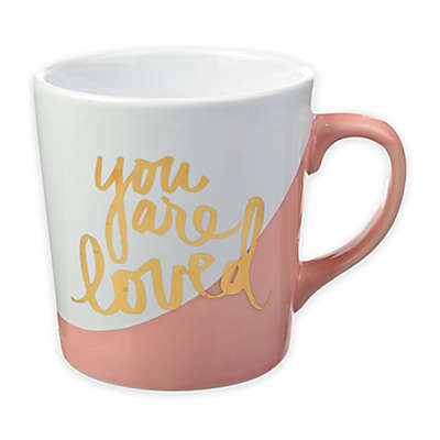 """Formations """"You Are Loved"""" Color Dip Mug in Pink/White"""