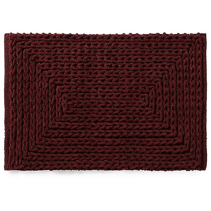 Alternate image 1 for VCNY Barron Cotton Chenille 17-Inch x 20-Inch Bath Rug in Red