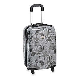 Geoffrey Beene Overland World Destination 20-Inch Hardcase Carry-On Spinner Suitcase in Black/Multi