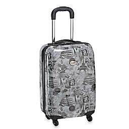 Geoffrey Beene Overland World Destination 20-Inch Hardcase Carry-On Spinner Suitcase in Black/Multi