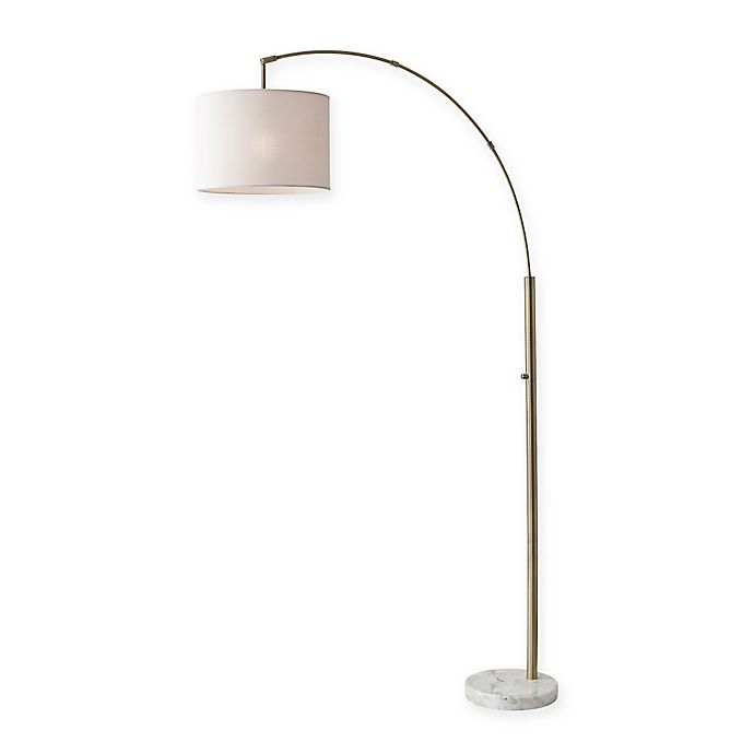 Alternate image 1 for Adesso Bowery Arc Floor Lamp in Antique Brass with Fabric Shade
