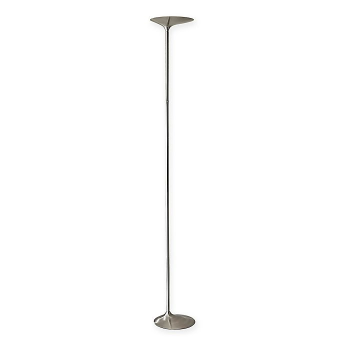 Alternate image 1 for Adesso Kepler LED Torchiere Floor Lamps in Brushed Steel