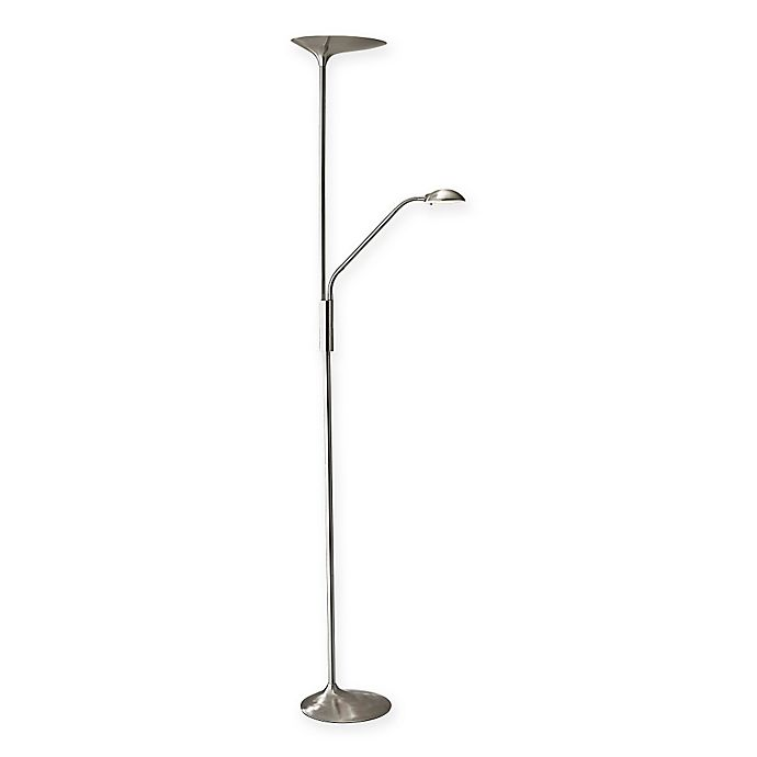 Alternate image 1 for Adesso Kepler LED Combo Torchiere Floor Lamp in Brushed Steel