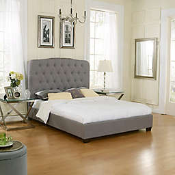 E-Rest Taylor Upholstered Platform Bed in Grey Linen