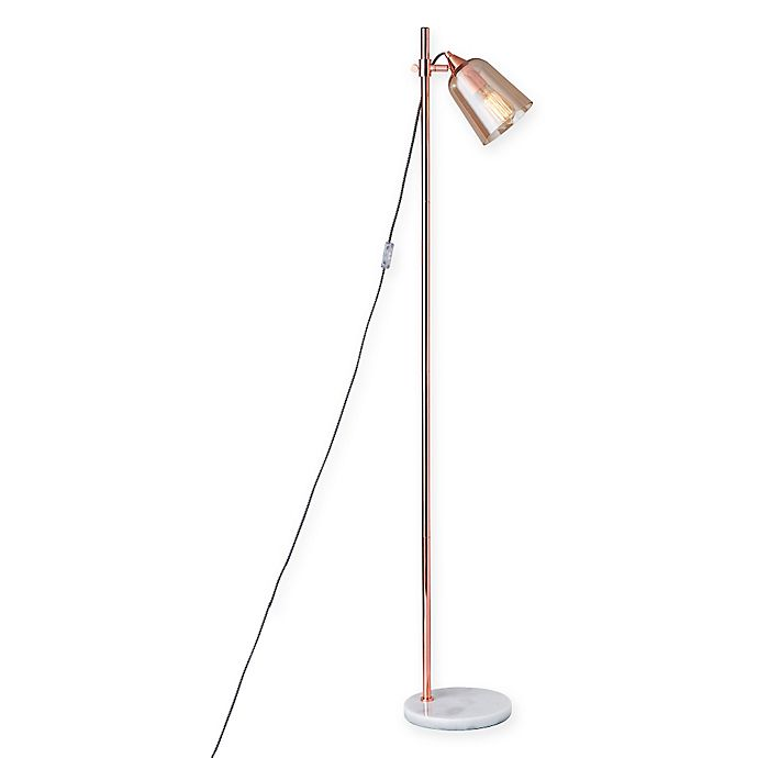 Alternate image 1 for Adesso Marlon Floor Lamp in Copper with Amber Glass Shade
