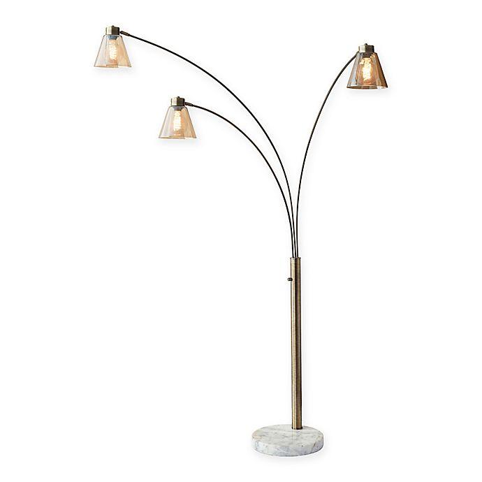 Buy Brass Floor Lamp: Buy Adesso Sienna Floor Lamp In Antique Brass With Glass