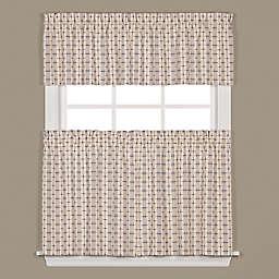 Crosswalk Kitchen Window Curtain Tiers and Valance in Navy