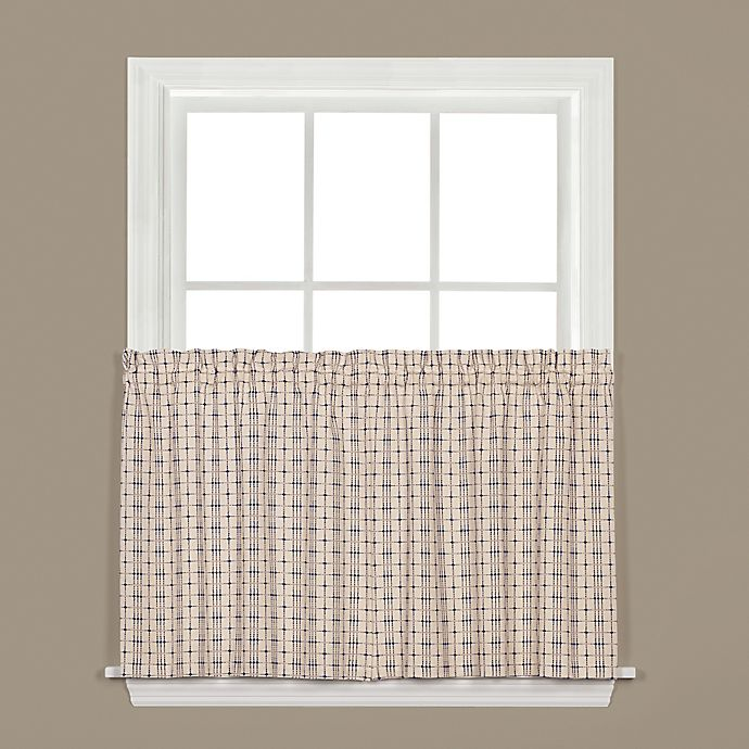 Alternate image 1 for Crosswalk Kitchen Window Curtain Tier Pair in Navy