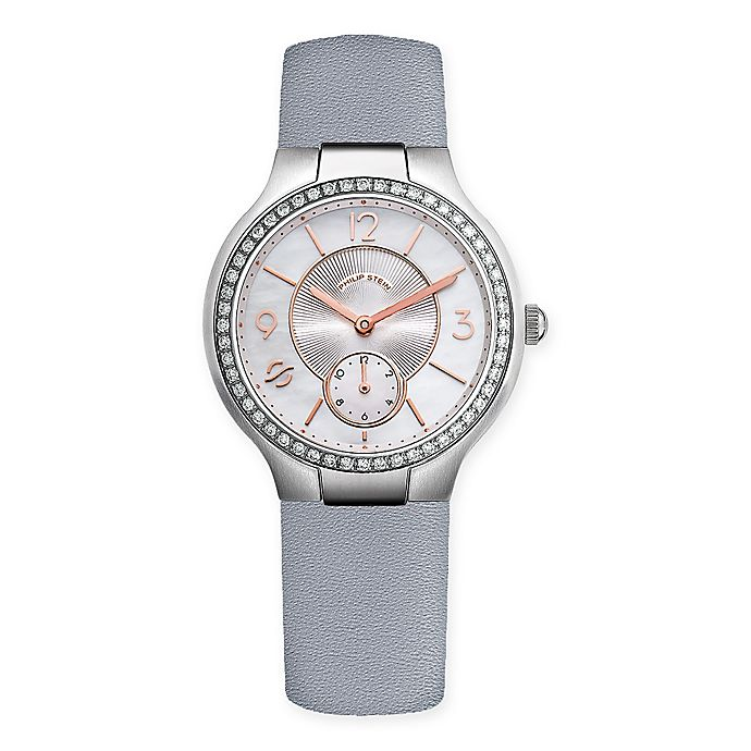 Alternate image 1 for Philip Stein 36mm .78 cttw Diamond Mother of Pearl Dial Watch in Stainless Steel w/Leather Strap