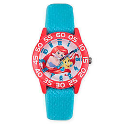 Disney® Little Mermaid Children's Flounder Time Teacher Watch in Red Plastic w/Blue Nylon Strap