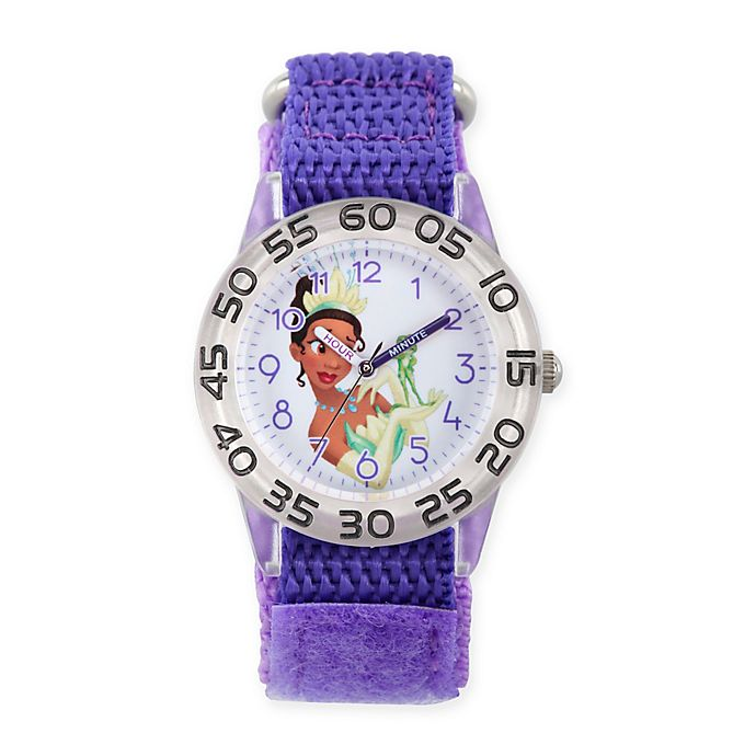 Alternate image 1 for Disney® The Princess and The Frog Children's Tiana Time Teacher Watch in Plastic w/Nylon Strap