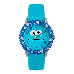 Sesame Street® Cookie Monster Children's Hearts Blue Time Teacher Watch in Plastic w/Nylon Strap