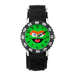 Sesame Street® Oscar Children's Face Time Teacher Watch in Black Plastic w/Black Nylon Strap