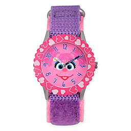 Sesame Street® Abby Children's Face Time Teacher Watch in Pink Plastic w/Purple Nylon Strap