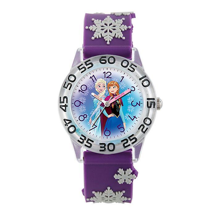 Alternate image 1 for Disney® Frozen Children's Anna/Elsa Time Teacher Watch in Clear Plastic w/Purple Plastic Strap