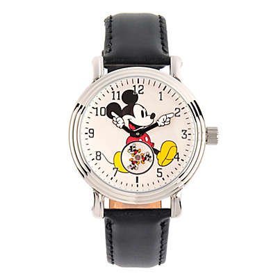 Disney® Mickey Mouse Ladies' 38mm Subdial Watch in Silvertone with Black Leather Strap