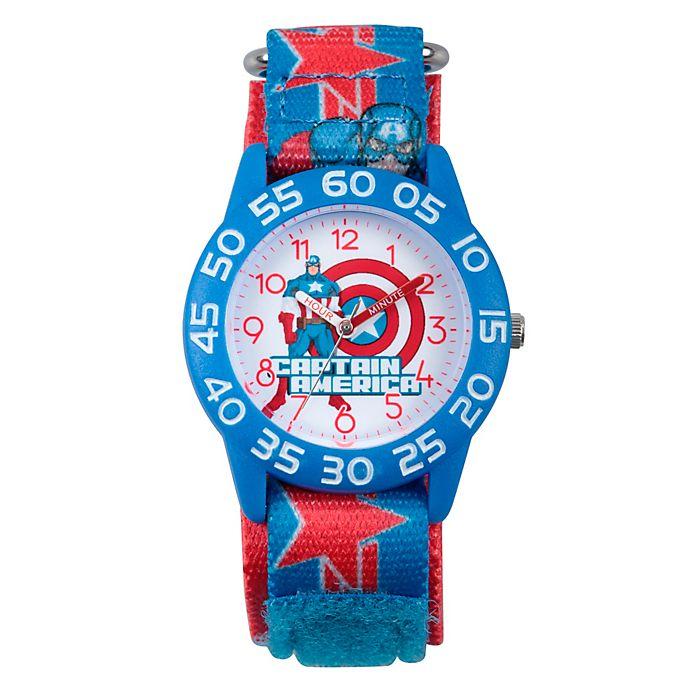 Alternate image 1 for Marvel® Avengers Children's Captain America Time Teacher Watch in Blue w/Logo Nylon Strap