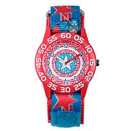 Marvel® Avengers Children's Captain America Shield Time Teacher Watch in Red w/Nylon Strap