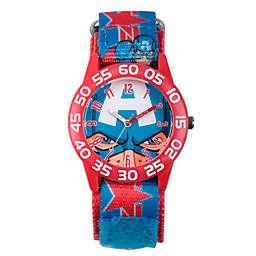 Marvel® Avengers Children's Captain America Time Teacher Watch in Red Plastic w/Logo Nylon Strap