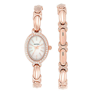 Armitron® Crystal-Accent Mother of Pearl Watch and Bracelet in Rose Goldtone Stainless Steel